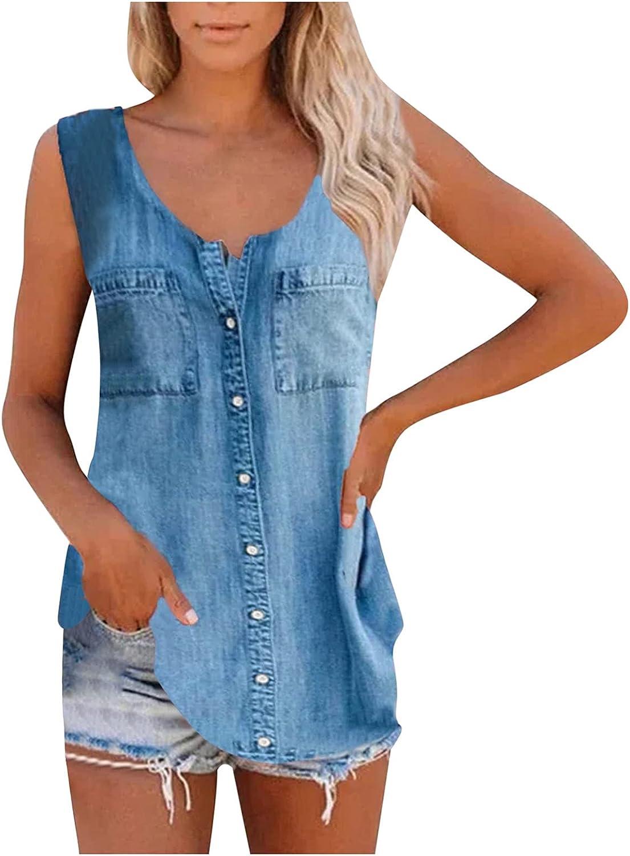 Oxodoi Womens Sleeveless Tank Tops Shirt Comfy Soft Denim Button T-Shirt Vest Blouse Summer Loose V-Neck Pocket Basic Tees