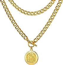 FaithHeart Collar de Eslabones Cubanos Acero Inoxidable 5MM Ancho 45-75CM Largo para Hombre y Mujer Choker Gargantilla Gruesa con Crucifijo/Cerradura/Medallas