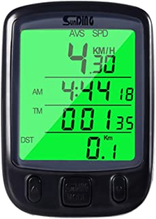 Wired Bike Computer Sports Tracker Bike Speedometer Waterproof Wired Bicycle Bike Computer Waterproof LCD Display Cycle Odometer Speedometer for Mountain Bike Spin Bike Indoor/Outdoor Exerciser