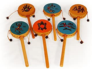 Spin Drum Twelve Pack Assortment Wholesale Set Hand Painted Peru Fair Trade Percussion Drums
