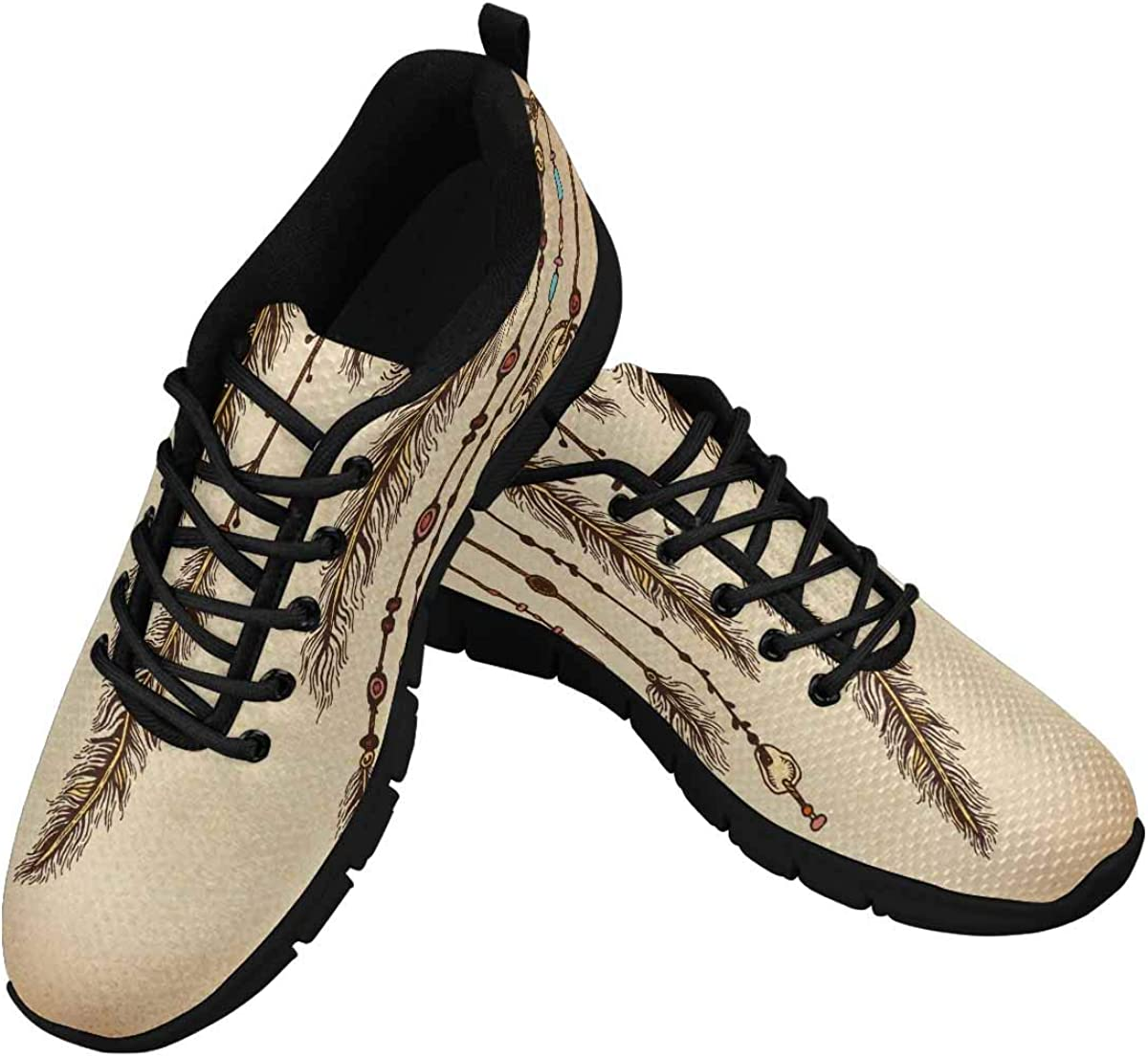 INTERESTPRINT Feathers and Ethnic Women's Tennis Running Shoes Lightweight Sneakers