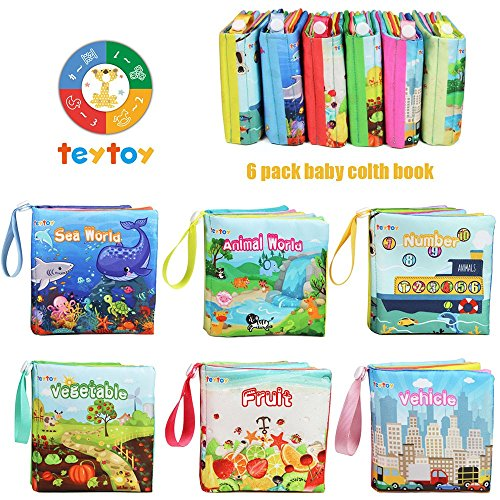 teytoy My First Soft Book, 6 PCS Nontoxic Fabric Baby Cloth Books Early Education Toys Activity Crinkle Cloth Book for Toddler, Infants and Kids Perfect for Baby Shower (Pack of 6)