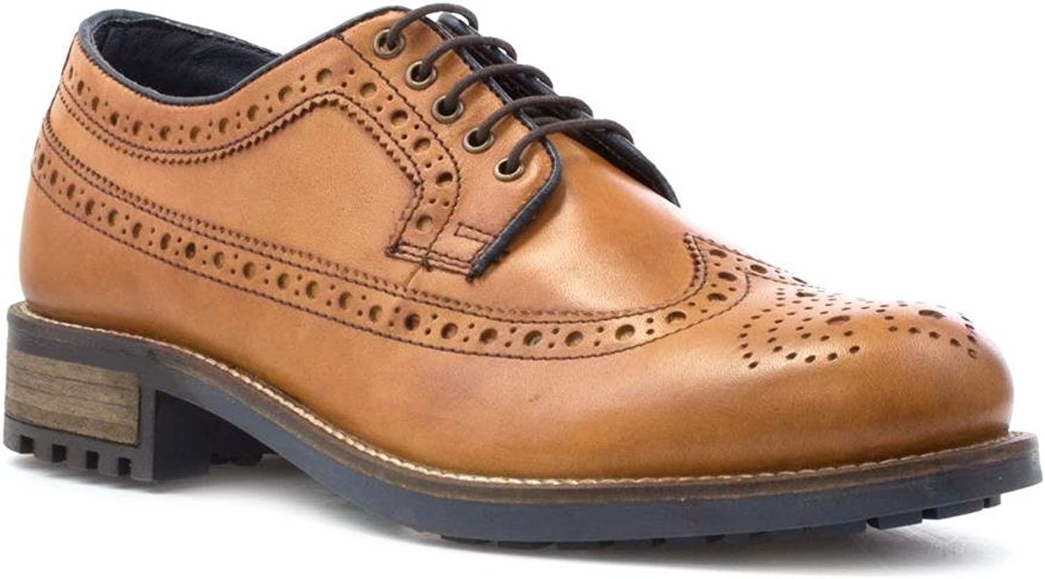 Catesby Mens Leather Lace Up Brogue shoes in Tan
