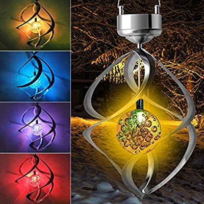 Solar Light Spiral Spinner Solar Wind Chime LED Colour Changing Hanging Wind Light Waterproof Night Lamp for Garden Yard Lawn Balcony Porch