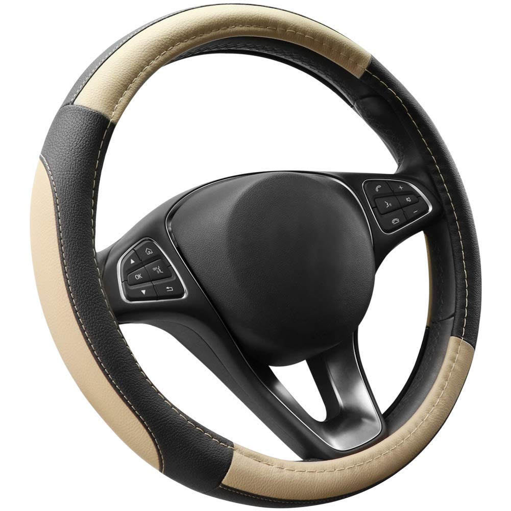 Black/&Coffee ECLEAR Car Steering Wheel Cover Genuine Leather Universal 15 inch//38CM Breathable Anti-slip Protector for Auto//Truck//SUV//Van