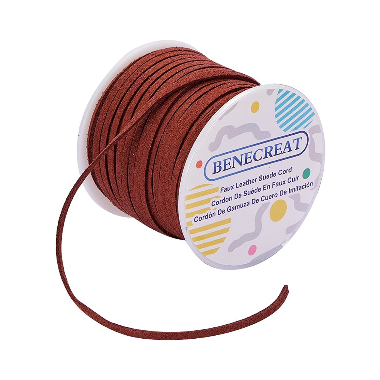 BENECREAT 3mm Faux Suede Cord Jewelry Making Flat Micro Fiber Lace Faux Suede Leather Cord (30 Yards, SaddleBrown)
