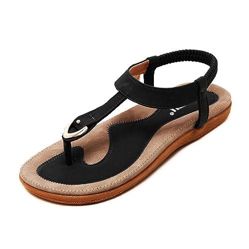 b2730b8e6660 LK Comfortable Elastic Clip Toe Flat Beach Sandals for Women