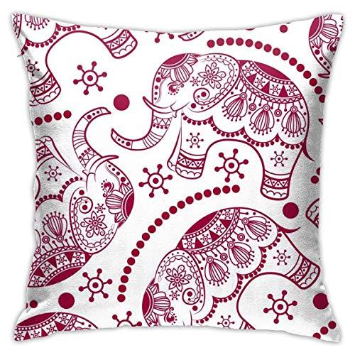 N\A Funda de Almohada Decorativa con Elefante étnico Rojo, Funda de cojín con Cremallera para sofá, Dormitorio, Silla de Coche, Fiesta en casa, Interior, Exterior