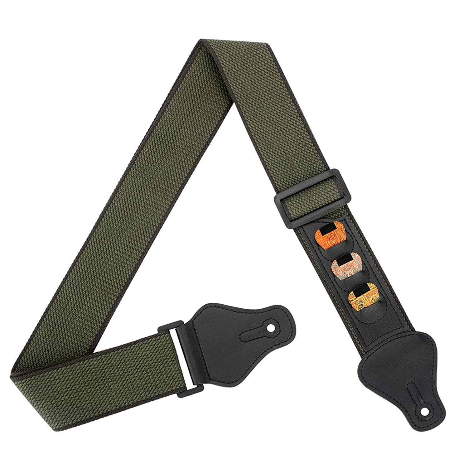 BestSounds Soft Guitar Strap 100% Cotton With 3 Pick Holders For Bass Electric & Acoustic Guitars (Green)