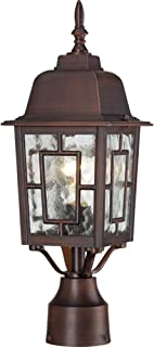 Nuvo Lighting 60/4928 Banyon One Light Post Lantern 100 Watt A19 Max. Clear Water Glass Rustic Bronze Outdoor Fixture (Renewed)