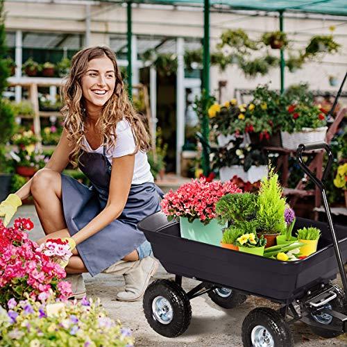 Giantex Dump Cart Garden Dumper 660 Lbs W/Heavy Duty Steel Frame Pneumatic Tires for Lawn Tractor Riding Mowers Yard Barrow Wagon Carrier