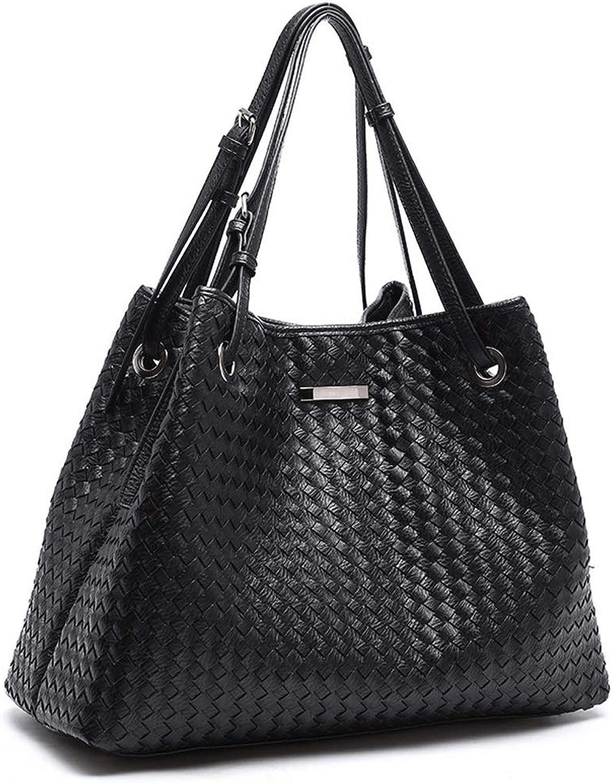 DONGLU Damen Handtasche Weave Schultertasche Schwarz Satchel Square Soft Case (Farbe   3 , größe   S) B07HL3QB4L  Moderne Technologie