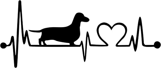 Bluegrass Decals Dachshund Heartbeat Lifeline Monitor Dog Decal Sticker (Black, 10)