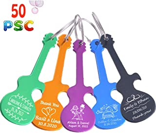50pcs Personalized Engraved Bottle Openers Key Chain Wedding Favors Brewery, Hotel, Restaurant Logo Christmas Private Customized (50 PSC)