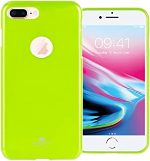 GOOSPERY Marlang Marlang iPhone 8 Plus Case - Lime Green, Free Screen Protector [Slim Fit] TPU Case [Flexible] Pearl Jelly [Protectoin] Bumper Cover for Apple iPhone 8 Plus, IP8P-JEL/SP-LIM