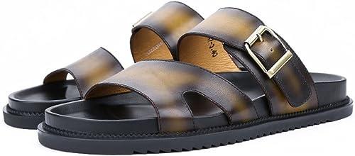 FFTX Pakamo Hommes Sandales en en Cuir véritable Plage pêcheur Hommes Chaussures antidérapantes Pantoufles d'été résistant à l'usure de randonnée en Plein air Chaussures pour Hommes  branché