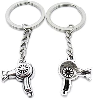 Metal Antique Silver Plated Keychains Keyrings Keytag YK110 Hair Dryer Key Chain Ring