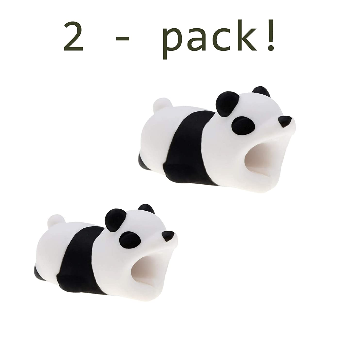 Quirkio - Cable Charger Animal Bite for iPhone Cord Protector Prime Accessories for Phones and Charging Cable (Panda x2)