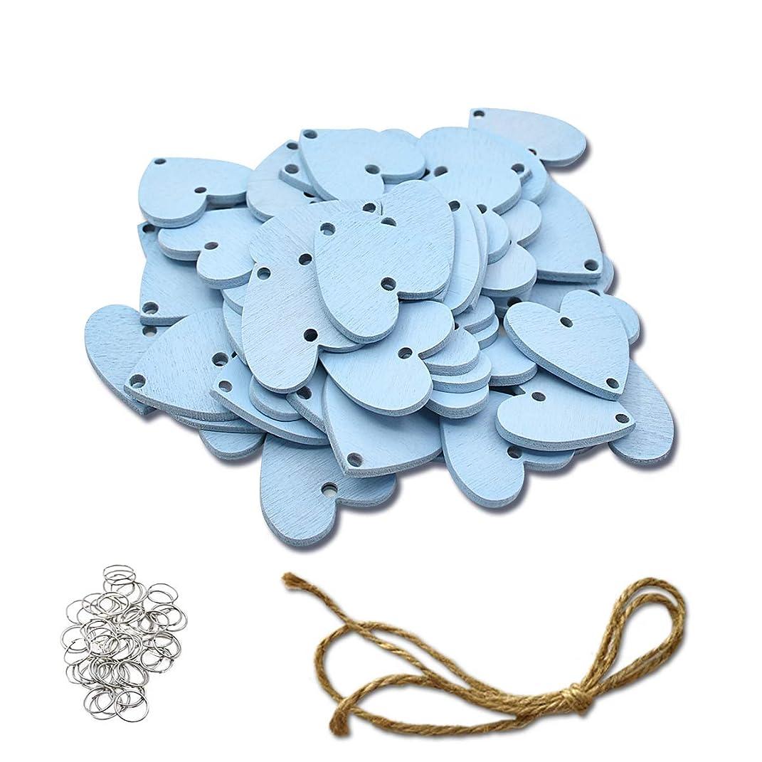 ElekFX] Family Calendar Wood Crafts Heart Discs 50 Pack Colorful DIY Wooden Calendar Wall Plaque Pendants for Home Decor/Christmas Decor - L Blue