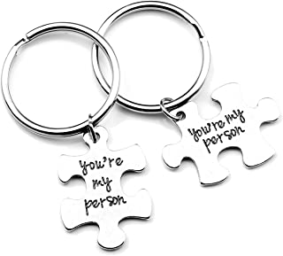 2pcs You're My Person Puzzle Alloy Keychain Jewelry Set - Valentines Day Best Friend Gifts