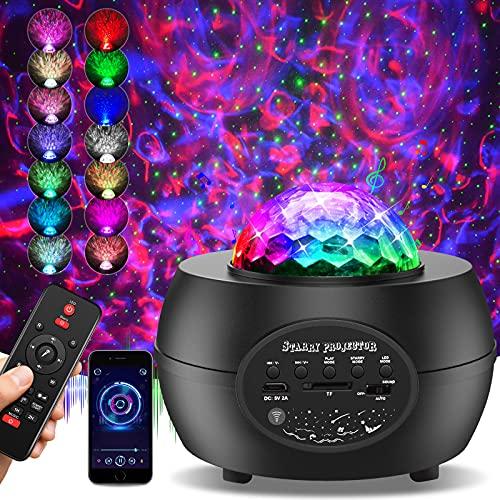 Proyector de Luz Estelar, 30 Modos Lámpara Proyector Estrellas Lámpara con Bluetooth Temporizador Remoto para Niños Regalos para Adultos Regalos para el Hogar Decoración de La Noche