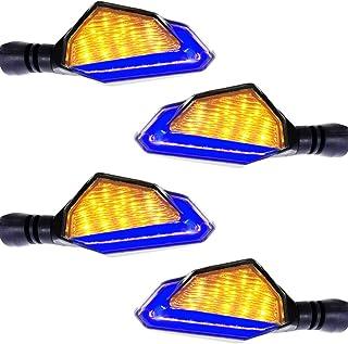 4 pcs Intermitentes moto led en azul y Amarillo, Amarillo LED es el indicador direccional,azul LED es la luces de Conducción Diurnas,Súper hermosa! (Últimos modelos, muy populares)