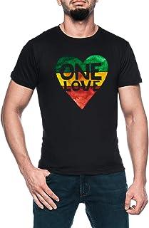 One Love Music Rasta Reggae Heart Peace Roots Hombre Negro Camiseta Manga Corta Men's Black T-Shirt
