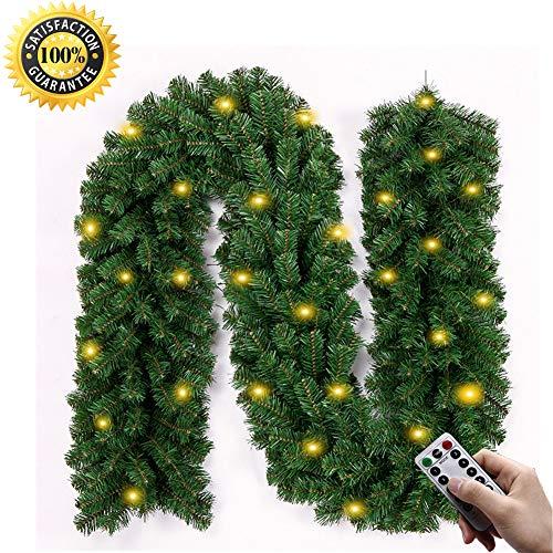 Morbuy Décoration de Noël Lumineuse Guirlande de Sapin, Intérieur Extérieur LED Mode 8 à Distance Vert Décor de Noël pour Anniversaire Fête Les Escaliers de Porte 270 cm (280)
