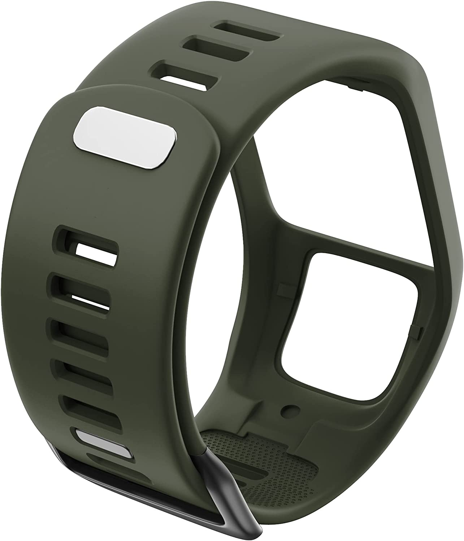 CGGA Silicona Reemplazo de Pulsera Reloj Correa para Tomtom Runner 2 3 Spark 3 GPS Reloj Deportivo para Tomtom 2 3 Series Soft Smart Band (Band Color : Army Green)