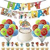 Decoracion Melon Tema Cumpleaños Set, Pancarta de Feliz Cumpleaños, Adorno de Pastel de Bricolaje y Globos de Látex, para Melon Fiesta Temática por Infantil