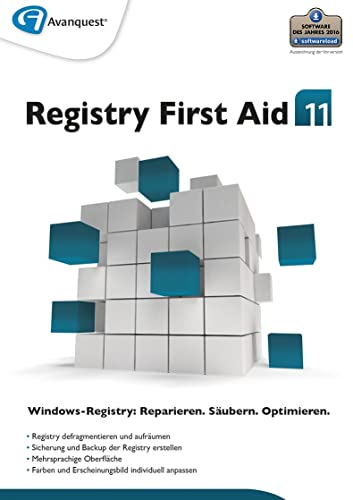 Registry First Aid 11 - Reparieren, Säubern und Optimieren Sie Ihre Windows-Registry! Windows 10|8|7|Vista|XP [Download]