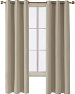 Deconovo Room Darkening Thermal Insulated Blackout Grommet Window Curtain Panel for Bedroom, Beige,42x84-inch,1 Panel