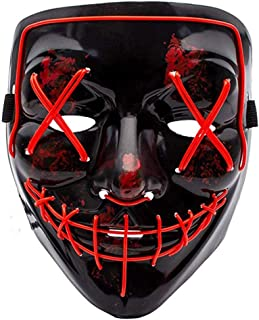 LED Halloween Purge Mask, Scary Cosplay Light up Mask for Festival Parties Red