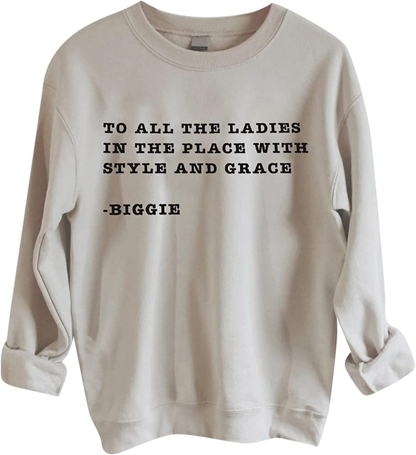 JPLZi Women Round Neck Long Sleeve Pullover Top Fashion Letter Print Casual Sweatshirts Comfy Oversized Fall Wear Top Tunics