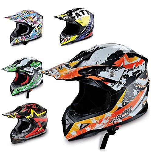 Hecht Motocrosshelm 53915 Motorrad-Helm Enduro ABS Quadhelm (M (57-58 cm), orange/schwarz/weiß)
