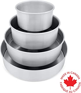 Crown 4 piece Round Cake Pans, 6, 8, 10, 12 inch, 3 inch deep, Professional Quality Baking Pans, Heavy Gauge, Pure Food Grade Aluminum, Extra Sturdy, Easy to Clean