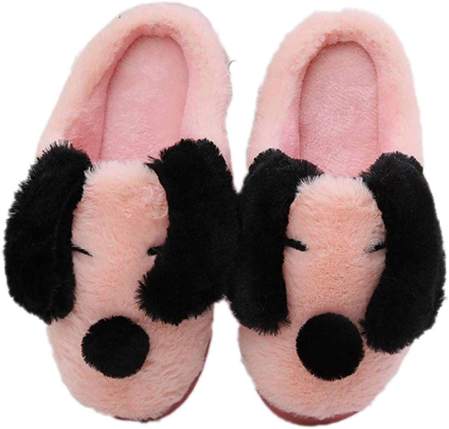 Nafanio Cute Animal Home Slippers Winter Warm Dog Plush House shoes Indoor Bedroom Soft Furry Cotton Flats