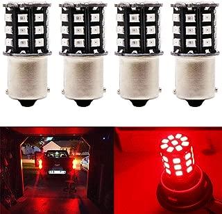 JAVR - Pack of 4-1156 BA15S 1141 1003 7506 Super Bright Red 12-24V DC 2835 33SMD LED Bulbs for Tail Brake Light Lamps Motorcycle Brake Light