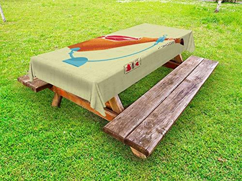 ABAKUHAUS Spaans Tafelkleed voor Buitengebruik, Dry-Genezen Spaanse Ham, Decoratief Wasbaar Tafelkleed voor Picknicktafel, 58 x 84 cm, Veelkleurig