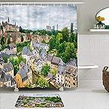 LISNIANY Conjunto De Ducha Cortina Alfombra,Vista del Paisaje de la Zona del Casco Antiguo Ciudad de Luxemburgo Destino turístico Foto panorámica Europea,Uso en baño, Hotel