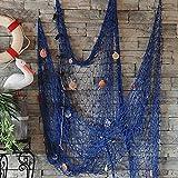Red de pesca decorativa para pared, playa, fiesta, concha, pared, techo, decoración del hogar, red de pesca (azul)
