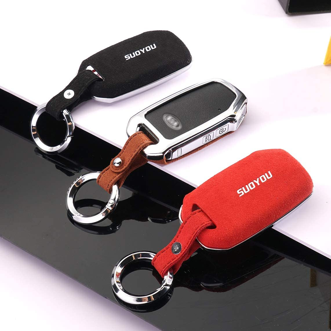 ontto for Kia Key Fob Cover Case Shell Holder Jacket Shell Keyring Keychain Smart Car Key Skin Keyless Black