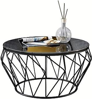 WXiaJ-Kaffetisch Runde Schmiedeeisen Glas Couchtisch Wohnzimmer Balkon Moderne minimalistische Möbel (60 × 60 × 45 cm) (Farbe : SCHWARZ)