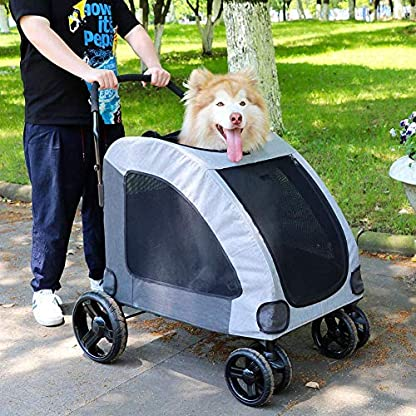 Dog Stroller For Large Pet Jogger Stroller For 2 Dogs Breathable Animal Stroller With 4 Wheel And Storage Space Pet Can Easily Walk In/Out Travel Up To 120 Lbs(55kg) 4