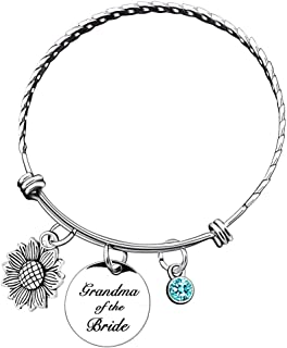 Sunflower Bracelet Bangle Personalized Birthstone Mother of The Bride Groom Gift Initial Silver Bangle