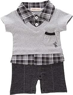 ALLAIBB Toddler Baby Boys Gentleman Plaid Shirt Lapel Cotton Snap Romper Jumpsuit