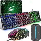 Gaming Tastatur und Maus Set mit Adapter, QWERTZ German Layout Farbbeleuchtung Keyboard 6 Tasten 2400 DPI Maus und Mauspad, USB Verkabelt Ergonomische Design Kompatibel mit PS4 Xbox Switch, Schwarz
