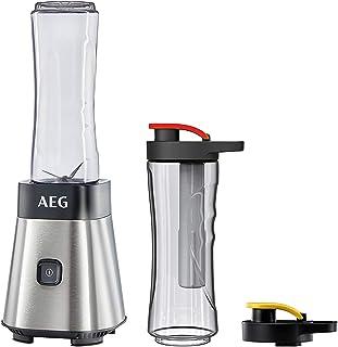 AEG MiniMixer SB 2700 Standmixer / 0,4 PS-Power-Motor / 23.000 U/Min / 2 spülmaschinen- und bruchfeste 600 ml Tritan-Flaschen / Kühlakku / 4-Klingen Messer / Pulse-Taste / gebürstetes Edelstahl