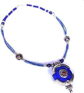 Coral Turquesa Retro Collar de Abalorios tibetano Lazuli Piedra Azul Cadena Joyería Regalo