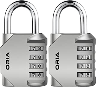 ORIA Combination Lock, 4 Digit Combination Padlock Set, Metal and Plated Steel Material for School, Employee, Gym or Sports Locker, Case, Toolbox, Hasp Cabinet and Storage, Pack of 2, Silver